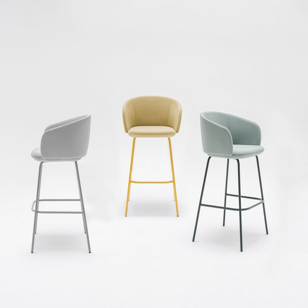 Stool Grace Fabric: Mica Color: MC14, MC12, MC18, Base color:  M010, M029, M012